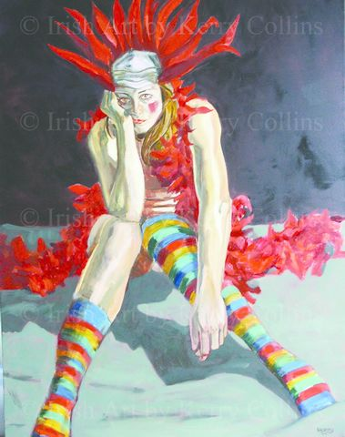 Stripey,Socks,(might,cheer,me,up!),Kerry, Collins, Art, prints, feathers, clown, rainbow, Irishartist, portrait, Interiors
