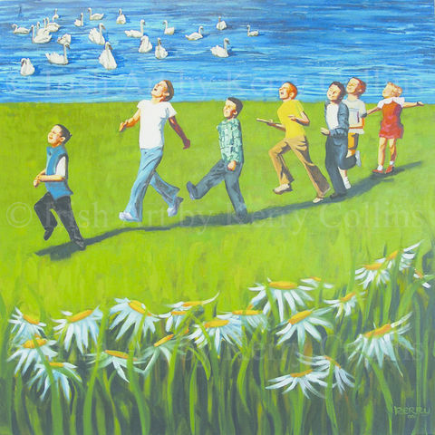 Daisy,chain,Day,Kerry, Collins, Art, prints, Irishart, children, adventure, fun, happy, flowetrs