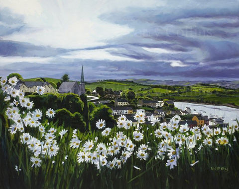 Crosshaven,from,the,Cross,Kerry, Collins, Art, prints, landscape, Crosshaven, Ireland, daisies, seascene, boats