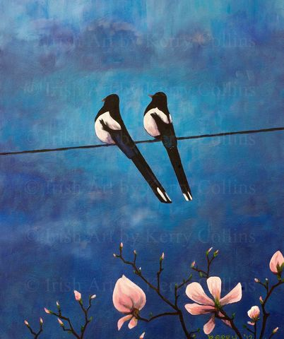 Two,for,Joy,Kerry, Collins, art, prints, Magpies, blue, magnolias, nature, Irishartist, birds