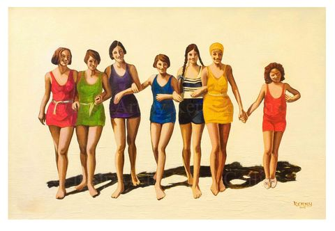 Golden,girls,Kerry, Collins, Art, prints, nostalgia, vintage, friends, bathers, beach, Irishartist
