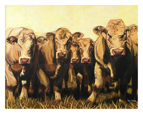 Ringabella,Rounup,Kerry, Collins, Art, prints, cattle, farming, rural, Ireland, Countryside, painting