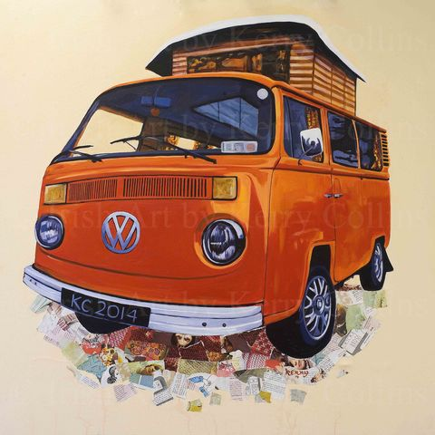 J.J.,s,Jaffa,Kerry, Collins, Art, prints, VW, Kombi, vintage, campervan, retro, orange