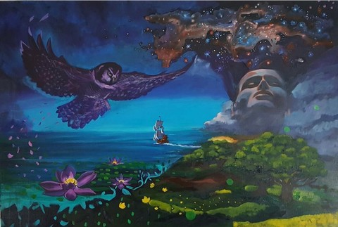 Time,to,Kerry, Collins, Art, prints, ship, owls, cosmic, meditation, imagination, journey