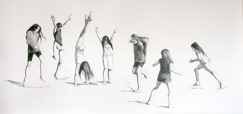 Cartwheels,Kerry, Collins, Art, prints, cartwheels, beach, drawing, holidays, children, Ireland
