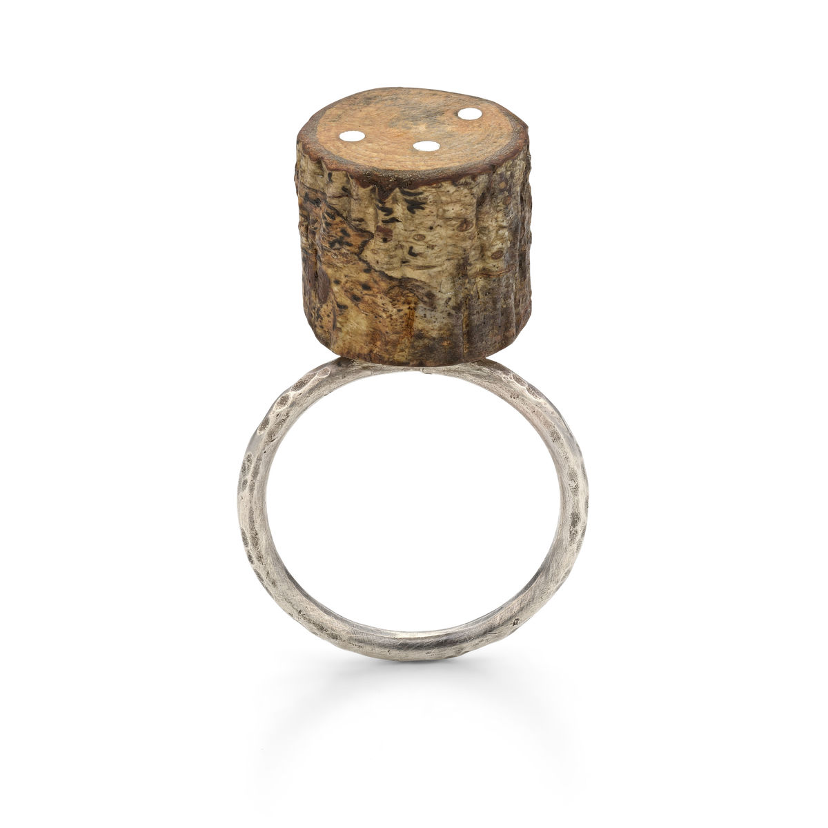 twig slice eco-silver ring - product image