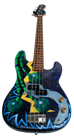 The,Space,Bass,custom painted bass, custom, paint, bass, guitar, airbrush, airbrushing, synesthetic, synesthesia, synasthetic, synasthesia, Muse, abstract, space, spacescape, stars, painting