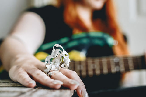 Guitar,Distortion,Ring,no.2,ring, silver, sterling, jewellery, jewelry, edgy jewellery, Poppy Porter, Matt Bellamy, Muse, UK Jewellery Designer, British Jewellery Designer, Guildford Jewellery, handcrafted, statement ring, sculptural ring, guitar, synaesthesia, art jewell