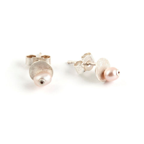 Little,Pearl,and,Silver,Stud,Earrings,-,Pink,Jewelry,Post,bridal,wedding,bride,tiny,white,cream,natural,stud,georgian,small,blush,rose,free_shipping,sterling,silver,sterling silver,freshwater pearl,pearl,rivet,925,satin silver,stirling