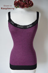 Wow 60% Off! Black Microstripe & Lace Camisole - product images 2 of 3