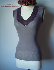 Wow 65% Off!! Our Mocha Wide Lace Sleeveless Vest - product images 4 of 5