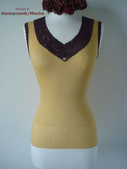 Wow 65% Off!! Our Mocha Wide Lace Sleeveless Vest - product images 3 of 5