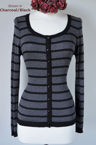 Black,Stripe,Scoop,Neck,Cardigan,Microstripe, Cardigan, Striped Cardigan, ladies knitwear, pointelle knitwear, Palace London, Palace