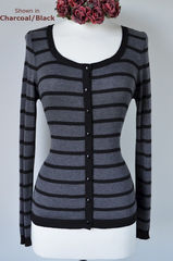 Black Stripe Scoop Neck Cardigan - product images 1 of 1
