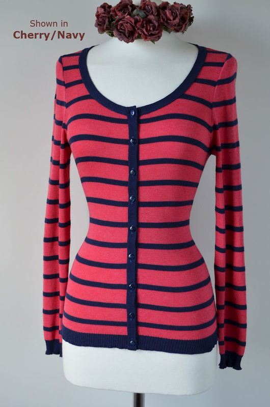 Navy Stripe Scoop Neck Cardigan - product image