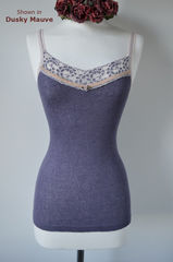 Now 30% Off!! Cream Velvet Lace Camisole and Cardigan Set - product images 4 of 11