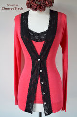 NOW 30% Off ! Black Wide Lace Camisole & Cardigan Set - product images 1 of 2