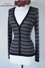 WOW 50% OFF! Narrow Black Stripe V Neck Cardigan - product images 1 of 1