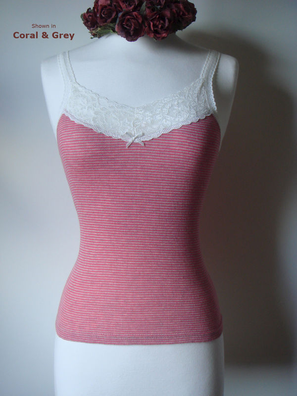 70% Off..Our Cotton Microstripe & Lace Camisole - product image