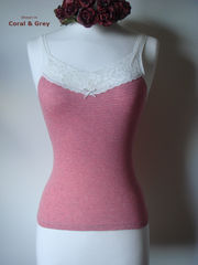 70% Off..Our Cotton Microstripe & Lace Camisole - product images 2 of 2