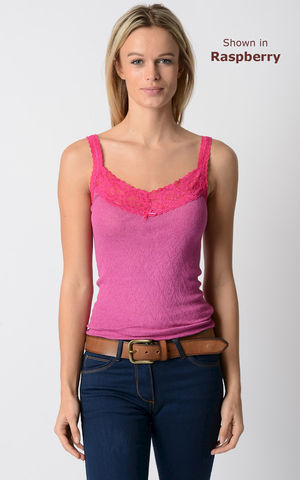 NOW,40%,OFF!,Our,Fuchsia,Wide,Lace,Camisole, Lace Trim, Long Length, Lace Camisole, Palace, Palace London, Palace Camisole, Palace London Camisole