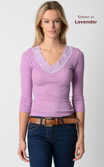 WOW 75% Off!!..Our Petite Fit Wide Lace V Neck Top - product images 1 of 2