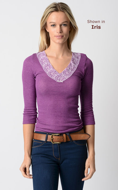 WOW 75% Off!!..Our Petite Fit Wide Lace V Neck Top - product image