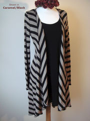 Now 60% Off! Black Wide Stripe Waterfall Cardigan - product images 2 of 2