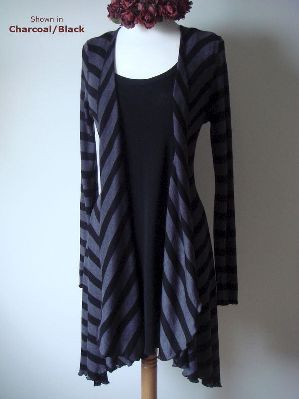 Now 60% Off! Black Wide Stripe Waterfall Cardigan - product image