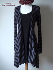 Now 60% Off! Black Wide Stripe Waterfall Cardigan - product images 1 of 2