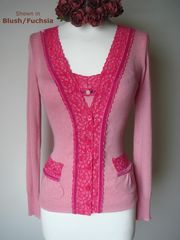 20% Off!  Our Fuchsia Lace & Velvet Vintage Style Twin Set - product images 1 of 2