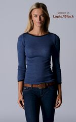 FLASH SALE 55% OFF!! Our Black Microstripe Boat Neck Top - product images  of
