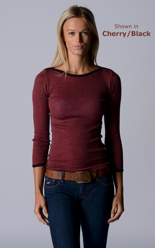 FLASH SALE 55% OFF!! Our Black Microstripe Boat Neck Top - product image