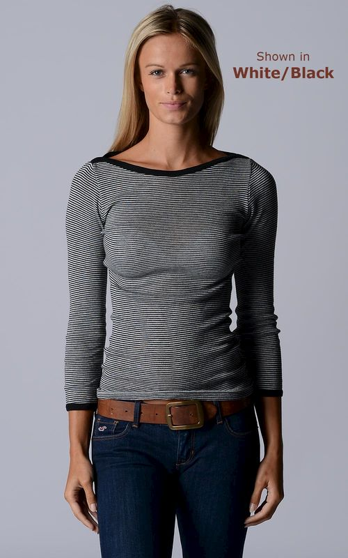 Our Black Microstripe Boat Neck Top - product image