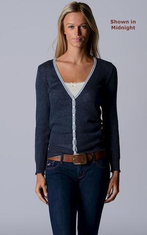 Our,Narrow,Lace,Pointelle,Cardigan,Lace Trim, V Cardigan, Lace Trim Cardigan, Lace Cardigan