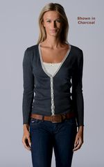 FLASH SALE 50% OFF! Our Narrow Lace Pointelle Cardigan - product images 3 of 3