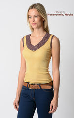 Wow 65% Off!! Our Mocha Wide Lace Sleeveless Vest - product images 2 of 5