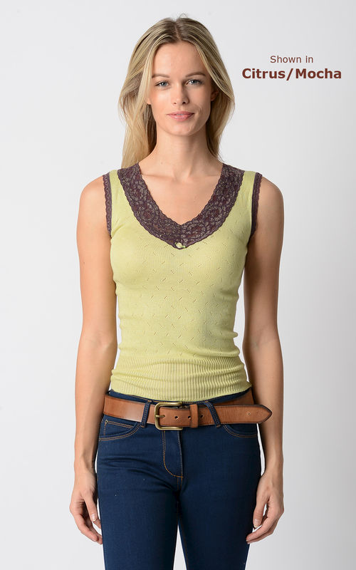 Wow 65% Off!! Our Mocha Wide Lace Sleeveless Vest - product image