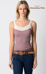 Now 80% Off! Our Cotton Microstripe Lace Camisole - product images 2 of 3