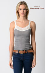 Now 80% Off! Our Cotton Microstripe Lace Camisole - product images 1 of 3