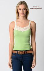 Now 80% Off! Our Cotton Microstripe Lace Camisole - product images 3 of 3