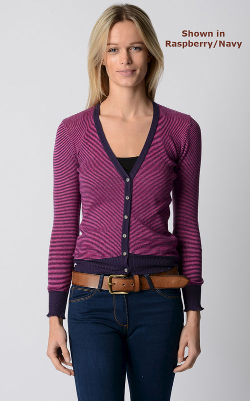 Our Stylish Navy Microstripe Cardigan - product image