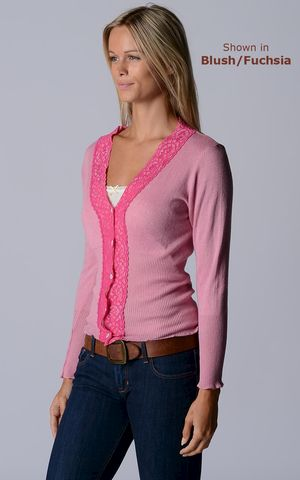 FLASH,SALE,45%,Off!,Our,Fuchsia,Lace,High,Rib,Cardigan,Wide Lace Trim, V Cardigan, Lace Cardigan, Lace Trim Cardigan, Palace London, Ladies Knitwear, Pointelle Knitwear