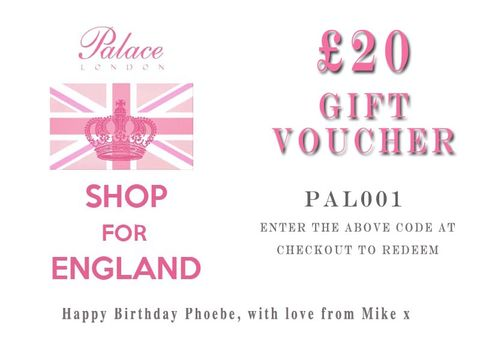 Palace,London,Personalised,Gift,Voucher,:,£20,Gift Voucher, voucher, gift, discount, clothing, palace, palace london