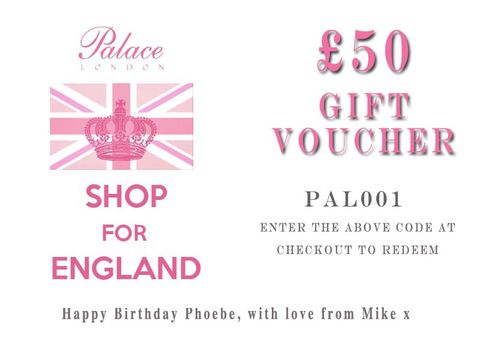 Palace,London,Personalised,Gift,Voucher,:,£50,Gift Voucher, voucher, gift, discount, clothing, palace, palace london