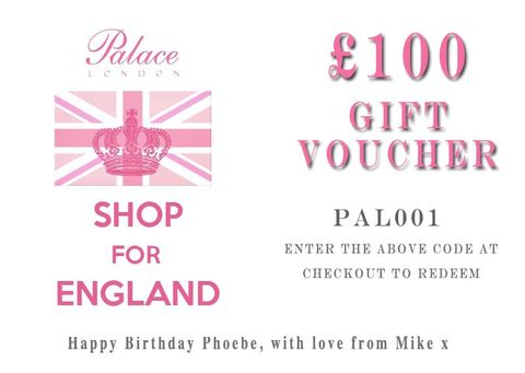 Palace,London,Personalised,Gift,Voucher,:,£100,Gift Voucher, voucher, gift, discount, clothing, palace, palace london