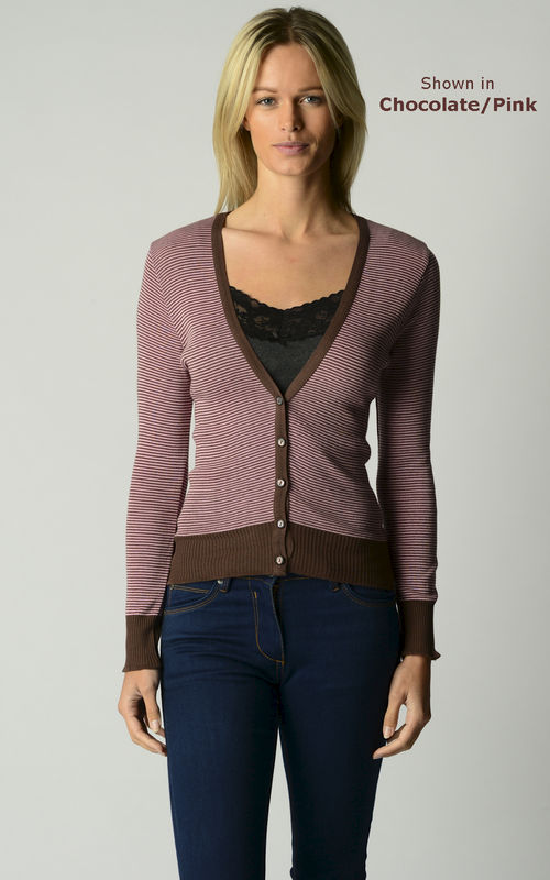 Now 70% Off! Our Cotton Microstripe V Cardigan - product image