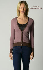 Now 70% Off! Our Cotton Microstripe V Cardigan - product images 1 of 7