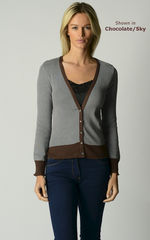 Now 70% Off! Our Cotton Microstripe V Cardigan - product images 2 of 7