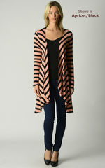 Wow 60% Off! Our Black Wide Stripe Waterfall Cardigan - product images 1 of 4